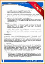 Exclusive Distribution Agreement Template New Manufacturing License