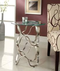 Round Chairside Table Homelegance Galaxy Round Chairside Table Brushed Chrome 4766 02
