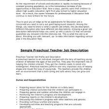 :Kindergarten Teacher Job Description Job Description Sample Teacher  Preschool Teachers Aide Job Descriptions By