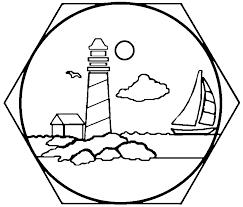 lighthouse stained glass stepping stone pattern