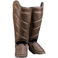 details about hayabusa t3 kanpeki hook and loop full grain leather striking shin guards