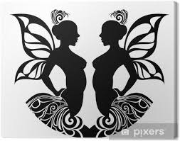 Obraz Znamení Zvěrokruhu Gemini Tetování Design Na Plátně