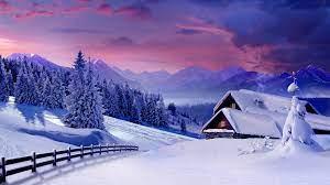1920x1080 Pink Sky Winter Scenic Houses ...