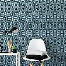 Art Deco Ster Blauw Behang Moonwallstickerscom