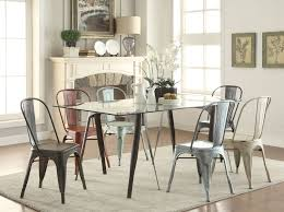 scandinavian dining room design with rectangle glass top dining tables with hairpin wooden legs and plastic chairs ideas
