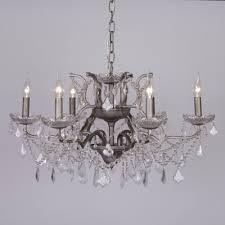 antique silver 6 branch shallow cut glass chandelier