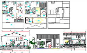 Image Multi Two Story Office Building Elevation Section And Floor Plan Details Dwg File Cadbull Two Story Office Building Elevation Section And Floor Plan Details