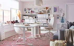 Ikea home office design Interior This White Home Office Is Decorated With Stockholm Flatwoven White And Red Colour Blocked Rug And Ikea Home Office Furniture Ideas Ikea