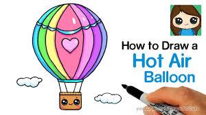 How to Draw a <b>Hot Air</b> Balloon <b>Cute</b> & Easy - YouTube