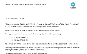 How To Write An Authorization Letter To Claim Atm Card While You Are