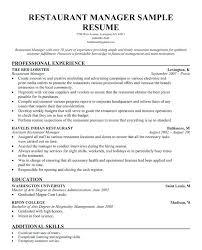 Restaurant Manager Resume Templates Restaurant Manager Resume