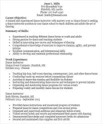 dance teacher resume