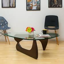 room and board walnut coffee table collection mod made mid century modern tribeca tempered glass
