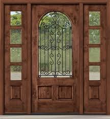Rustic Entry Door With Wrought Iron Between Glass - Iron exterior door