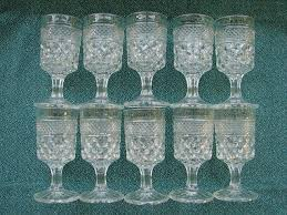 10 anchor hocking wexford pattern pressed glass stemmed pedestal small toasting goblets wedding set mid century vintage barware by