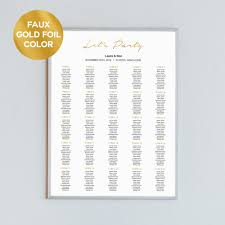 Party Seating Chart Template 8 Sizes Faux Gold Foil Wedding Seating Chart Template