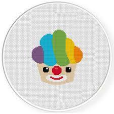 Clown Cupcake Cross Stitch Pattern
