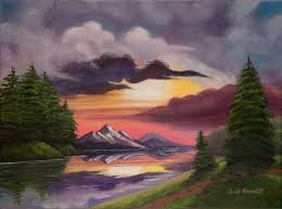 oils painting brilliant mountain sunset by gail darnell