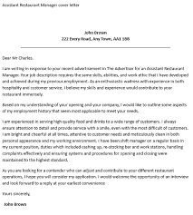 Assistant Restaurant Manager Cover Letter Icover Professional