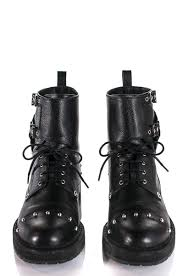 Studded Boots Designer Fendi Black Leather Studded Bug Combat Boots Size Us 7 5 Eu 37 5
