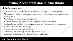 Senior Accountant Job In Abu Dhabi Highlyjobs
