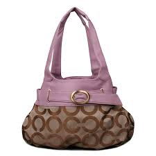 Coach Buckle In Signature Large Purple Khaki Hobo EMZ