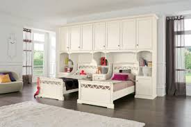 Double White Wooden Twin Bed Frame With Bookshelf And Bedside Table