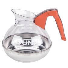 bunn easy pour coffee pot 12 cup plastic with stainless bottom orange handle decaf each