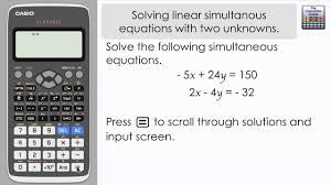 solving linear simultaneous equations with two unknowns storing the solution casio classwiz