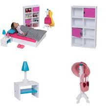 White Pink Doll Bedroom Furniture Set Wood For 18