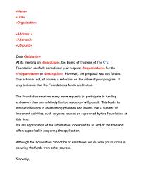 Sample Proposal Rejection Letter Decline Bid Or Business