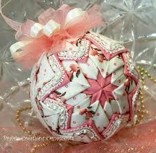 199 best Quilted Ornaments! images on Pinterest | Christmas ... & This beautiful 3 quilted ornament is made from a shabby rose fabric  accented with pink fabric with cream lace. It is topped with a gathered Adamdwight.com