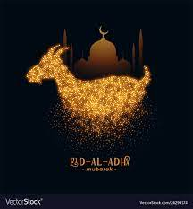 Eid al adha greeting with goat and mosque design Vector Image