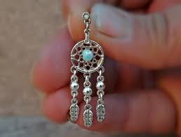 Dream Catcher Helix Earring Fire Opal Dream Catcher Blue Green 100ga Cartilage Helix Earring 28