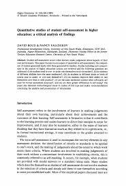 Sample Self Assessment Quantitative Studies Of Student Selfassessment In Higher Education 9