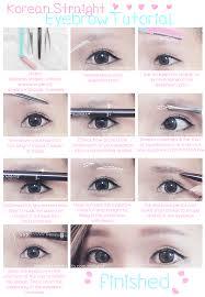 korean straight eyebrow tutorial