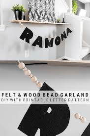diy felt and wood bead name garland including a free printable template for letters craft