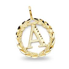 letter a pendant solid 14k yellow gold initial wreath charm diamond cut fancy