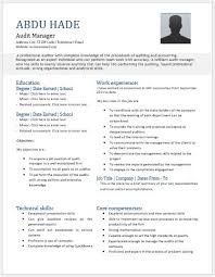 Audit manager resume template for MS Word