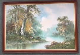 large framed canvas oil painting of a river scene 70 cm x 100cm canford