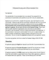 Free Letter Of Recommendation Template For College Professional Nursing Recommendation Letter Standard