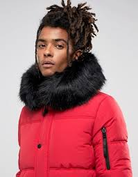sixth june puffer jacket in red with black fur hood jackets men clothing