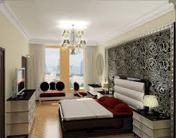 living room with bed: elegant bed sofa and tv on the top table with  storage also lamp light table