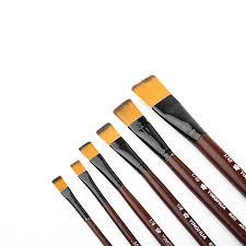 6Pcs <b>Nylon Hair</b> Wooden Handle Different Size Watercolor Acrylic ...