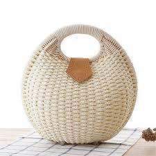 <b>Women Bamboo Handbag</b> Fashion Summer Vacation Totes Shell ...