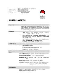 Interesting Mca Fresher Resume Sample With Bca Fresher Resume