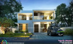 first floor area 600 sq ft total area 2000 sq ft no of bedrooms 4 no of bathrooms 4 design style modern sloping roof house 6 5 cents