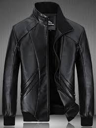 unique spliced design flocking pu leather jacket