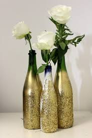 Wine Bottle Decorations Handmade DIY Glitter Vase For NYE Petal Talk 79
