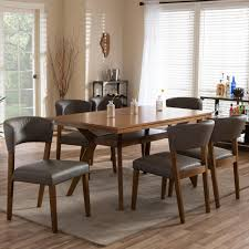 baxton studio montreal 7 piece gray faux leather upholstered dining set